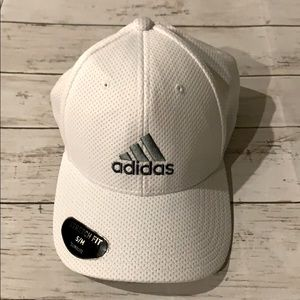 NEW Adidas white flex stretch fit climalite cap